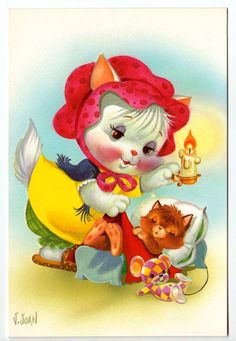 Vintage big eyed post card 70s. Cute dressed cat says goodnight to her little…