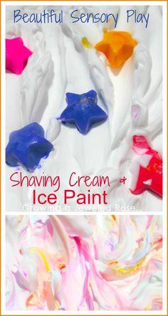 Summer Sensory Play- Shaving Cream & Ice Paint ~ Growing A Jeweled Rose