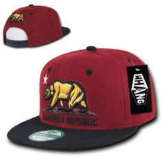California Republic Bear Snap Back Hat California Republic Bear Adjustable Snap Back Black and Burgundy Color Combination.                          Hat Brand: WHANG by Decky                        100% Authentic  100% Acrylic                       SAME DAY SHIPPING                               EXCEPT SATURDAY AND SUNDAY Whang Accessories Hats