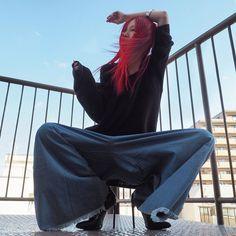 デニムのどかんパンツ #きょうの太陽浴 #moderobe #saintlaurent #redhaircolor