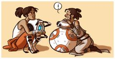 Chell/Wheatley and Rey/BB-8