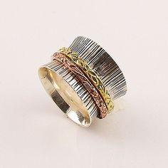 Spinner Ring - Three Tone Two Band- Keja Jewelry – Keja Designs Jewelry