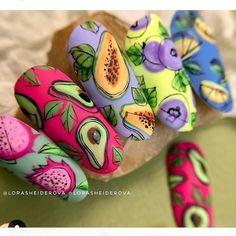 Fruit Nail Designs, Shellac Nail Designs, Shellac Nails, Cool Nail Designs, Nail Manicure, Cute Nails, Pretty Nails, Summer Nails, Winter Nails