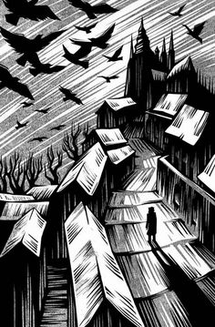 A woodcut by Vladimir Zimakov captures the eerie world of The Golem