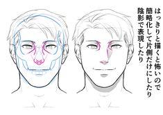 男性らしく見えるポイントって?イケメン男性キャラの描き方・顔編|イラストの描き方 鼻と眼窩 How to Draw Beautiful Masculine Faces | Illustration Tutorial