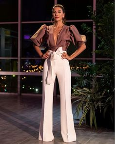 High Waist Tied Waist Pants plus 🔥🔥🔥🔥🔥 by Apparel Mode Costume, Cocktail Outfit, Fashion Outfits, Womens Fashion, Fashion Trends, Looks Chic, Pants Outfit, Women's Pants, Classy Outfits