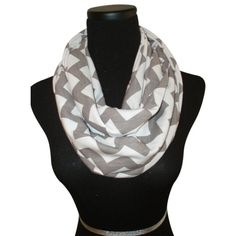 VOGUE CHEVRON INFINITY SCARVES-GREY