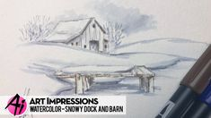 Watch Bonnie create a snowy riverbank with the dock from our WC Boats Set, and set the barn from our WC Truck Mini Set in the distance. Watercolor Projects, Watercolor Brushes, Watercolour Tutorials, Watercolor Cards, Watercolor Paintings, Watercolors, Watercolor Ideas, Water Color Markers, Art Impressions Stamps