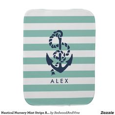 Nautical Nursery Mint Stripe Anchor Personalized Baby Burp Cloths