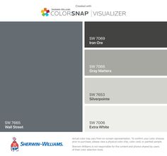 I found these colors with ColorSnap® Visualizer for iPhone by Sherwin-Williams: Wall Street (SW Iron Ore (SW Gray Matters (SW Silverpointe (SW Extra White (SW Exterior Paint Colors For House, Interior Paint Colors, Paint Colors For Home, Exterior Colors, Exterior Design, Street Painting, House Painting, Outside Paint, Outdoor Paint
