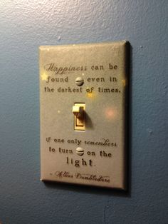 amazing! Dumbledore quote on light switch!