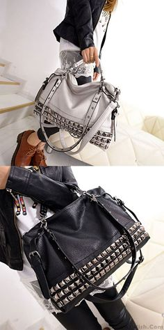 6286afacf87d New Rivets Leather Women Shoulder Bag Punk Square Rivet Handbags  rivet   Handbag  Punk