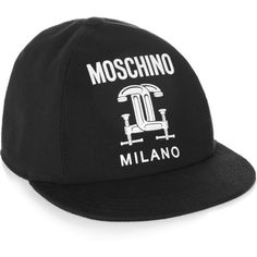Moschino Printed cotton-piqué baseball cap ($315) ❤ liked on Polyvore featuring accessories, hats, black, baseball hats, black baseball cap, black baseball hat, moschino hat e logo baseball caps
