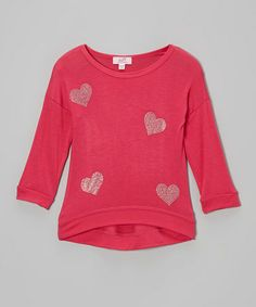 Look at this #zulilyfind! Fuchsia Studded Heart Hi-Low Tee - Infant, Toddler & Girls by Sofi #zulilyfinds