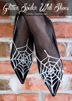 Glitter Spider Web Halloween Shoes 2 - OhMy-Creative.com These look like @Carrie Jurek  shoes!  To go with the bat necklace