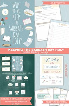 You can print this teaching package from home about keeping the Sabbath Day holy.  There are fun pictures to teach the principles in For the Strength of Youth!