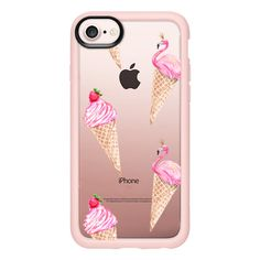 Flamingos and Ice-Cream - iPhone 7 Case And Cover ($40) ❤ liked on Polyvore featuring accessories, tech accessories, phone cases, iphone case, clear iphone case, apple iphone case and iphone cases