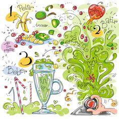 Cartoon Cooking: Banana Kiwi Kick! Cartoon Recipe, Juice Menu, Recipe Drawing, Vegetarian Day, Food Drawing, Drawing Ideas, Sketch Notes, Shake Recipes, Book Projects