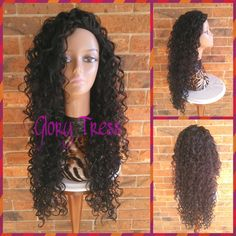 On Long Curly Half Wig Kinky Curly Wig Long Black Wig Sheba ($69) ❤ liked on Polyvore featuring beauty products, haircare, hair styling tools, bath & beauty, grey, hair care, wigs, flat iron, straightening iron and straight iron