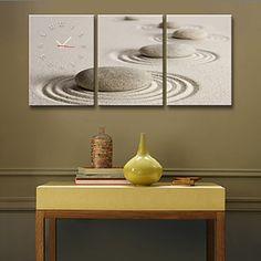 sanden+rund+stein+klokke+i+canvas+3pcs+–+NOK+kr.+473