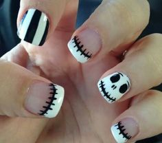 Cute Jack Skellington Nightmare Before Christmas Nails. Are you looking for easy Halloween nail art designs for October for Halloween party? See our collection full of easy Halloween nail art designs ideas and get inspired! Easy Nails, Easy Nail Art, Simple Nails, Cute Nails, Pretty Nails, Easy Disney Nails, Gorgeous Nails, Cute Halloween Nails, Halloween Nail Designs
