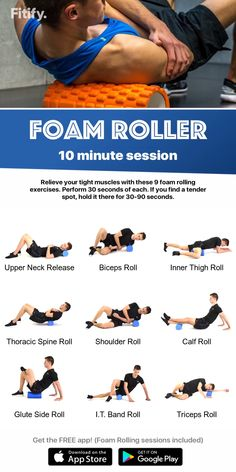 health fitness - BEST Foam Rolling Exercises 10 minutes session by Fitify Fitness Workouts, Yoga Fitness, Sport Fitness, Health Fitness, Physical Fitness, Fitness App, Fitness Style, Fitness Humor, Fitness Plan