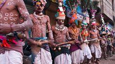 Dancers at Gair fair from the Rathwa Bhils tribe, Kawant, Gujarat, India.
