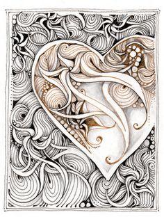 Swirly Heart zentangle, doodle