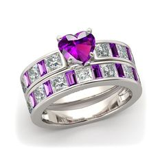 sz 5/6/7/8/9/10  Heart Cut 1.5ct & Sidestone light purple engagement /wedding ring . Starting at $5