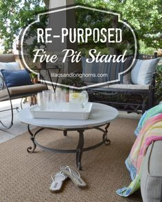 re-purposed fire pit stand into an outdoor table! The Effective Pictures We Offer You About Firepit patio A quality picture can tell you many things. You can find the most beautiful pictures that can Fire Pit Landscaping, Fire Pit Patio, Diy Fire Pit, Outdoor Fire, Backyard Patio, Outdoor Living, Backyard Projects, Diy Projects, Fire Pit Stand