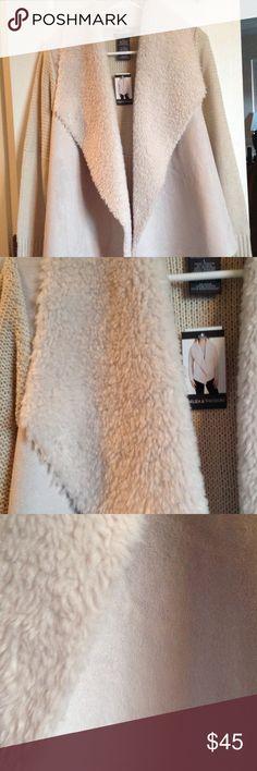 Large Faux Fur cardigan, Chelsea & Theodore. Beautiful, high quality.    Cream and tan.  Machine wash, cold. Chelsea & Theodore Sweaters Cardigans