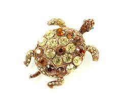 Turtle Brooch Crystal Brown Amber.
