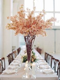 Kaely & Tyler at The White Sparrow — Ivory & Vine Event Co. Tree Centrepiece Wedding, Branch Centerpieces, Wedding Reception Decorations, Wedding Table, Diy Wedding, Floral Wedding, Wedding Flowers, Pink Clouds, Floral Photography