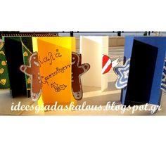 Ιδεες για δασκαλους: Χριστουγεννιάτικες καρτούλες με πατρόν! Kids Christmas, Xmas, Winter, House, Patterns, Winter Time, Home, Christmas, Weihnachten