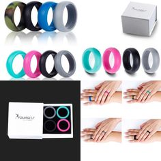 Womens Silicone Wedding Love Rings Stackable Crossfit Gym Fitness 4 Pack for sale online Crossfit Gym, Silicone Rings, Love Ring, Stackable Rings, 6 Packs, Gym Workouts, Flexibility, Packing, Band