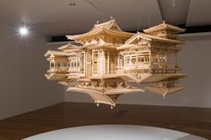Iwasaki A beautiful wood sculpture of a temple and its reflection, by Takahiro Iwasaki.A beautiful wood sculpture of a temple and its reflection, by Takahiro Iwasaki. Sculpture Ornementale, Modern Sculpture, Metal Sculptures, Abstract Sculpture, Bronze Sculpture, Japanese Architecture, Art And Architecture, Floating Architecture, Japanese Buildings