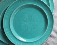 Metlox Colorstax Turquoise Manhattan Beach California  6 Dinner Plates
