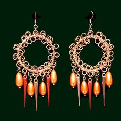 Orange Copper Drop Earrings with Copper Tone Metal, Faux Pearls & Acrylic Spikes - JnE