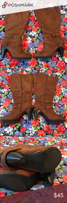 Brown heeled knee high boots Like new condition, as pictured. Has cute heel strap. I have the original box as well. Torrid Shoes Heeled Boots