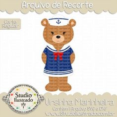 Sailor Bear Girl, Ursinha Marinheira, Teddy Bear, Boina, Beret, Baby, Bebê, Babe, Urso, Âncora, Anchor, Fofinha, Cute, Dress, Vestido, Roupa, Clothing, Wear, Silhouette, Corte Regular, Regular Cut, PNG, SVG, DXF