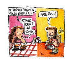 Robarte las papitas Peanuts Comics, Frases, Amor, Caricatures, Illustrations
