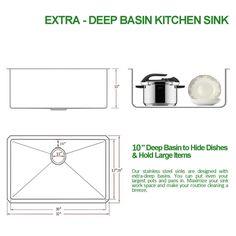 vccucine modern 32 inch 18 gauge single bowl undermount 304 stainless steel kitchen sinks kitchen vapsint commercial 30 inch 18 gauge 10 inch deep handmade drop in      rh   pinterest com