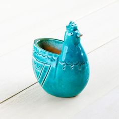 Ceramic Chicken Blue Glazed Candle Holder ニワトリのキャンドルホルダー (青釉陶芸品) - Beckyson ベッキーソン http://www.beckyson.co/?pid=69100508