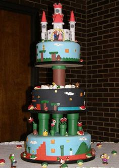If I ever find a woman who deems this an acceptable wedding cake, I will be quite literally the happiest man who ever lived. (Super Mario Cake)