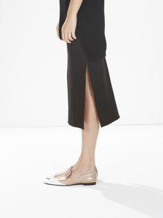 stretch side split skirt