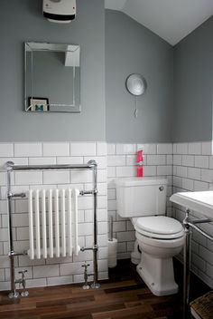 House Renovation! The Bathroom Makeover - Grey bathroom with subway tiles, on…