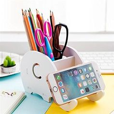 Cell Phone Stand, COOLBROS Wood Elephant Pencil Holder With Phone Holder Desk Organizer Desktop Pen Pencil Mobile Phone Bracket Stand Storage Pot Holder Container Stationery Box Organizer (Elephant)