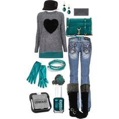 """Grey Black and Teal"" by crzrdnk77 on Polyvore"