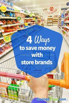 Name brand products are heavily advertised, so it's no wonder that many people are brand loyal. However, name brands are not always inherently better or higher quality than store brands and switching to store brands can save you a whole lot of money. That's why I have 4 ways to save money with store brands. Here are my 4 best tips for saving money on groceries and shopping. | Frugal Living, Frugal, Save Money, Coupons #coupons #savemoney #frugal #frugalliving