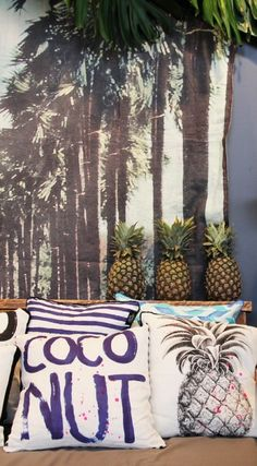This summers obsession...pineapple-coconut-shells-and palms
